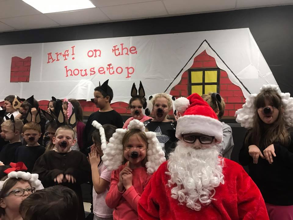 students performing christmas program