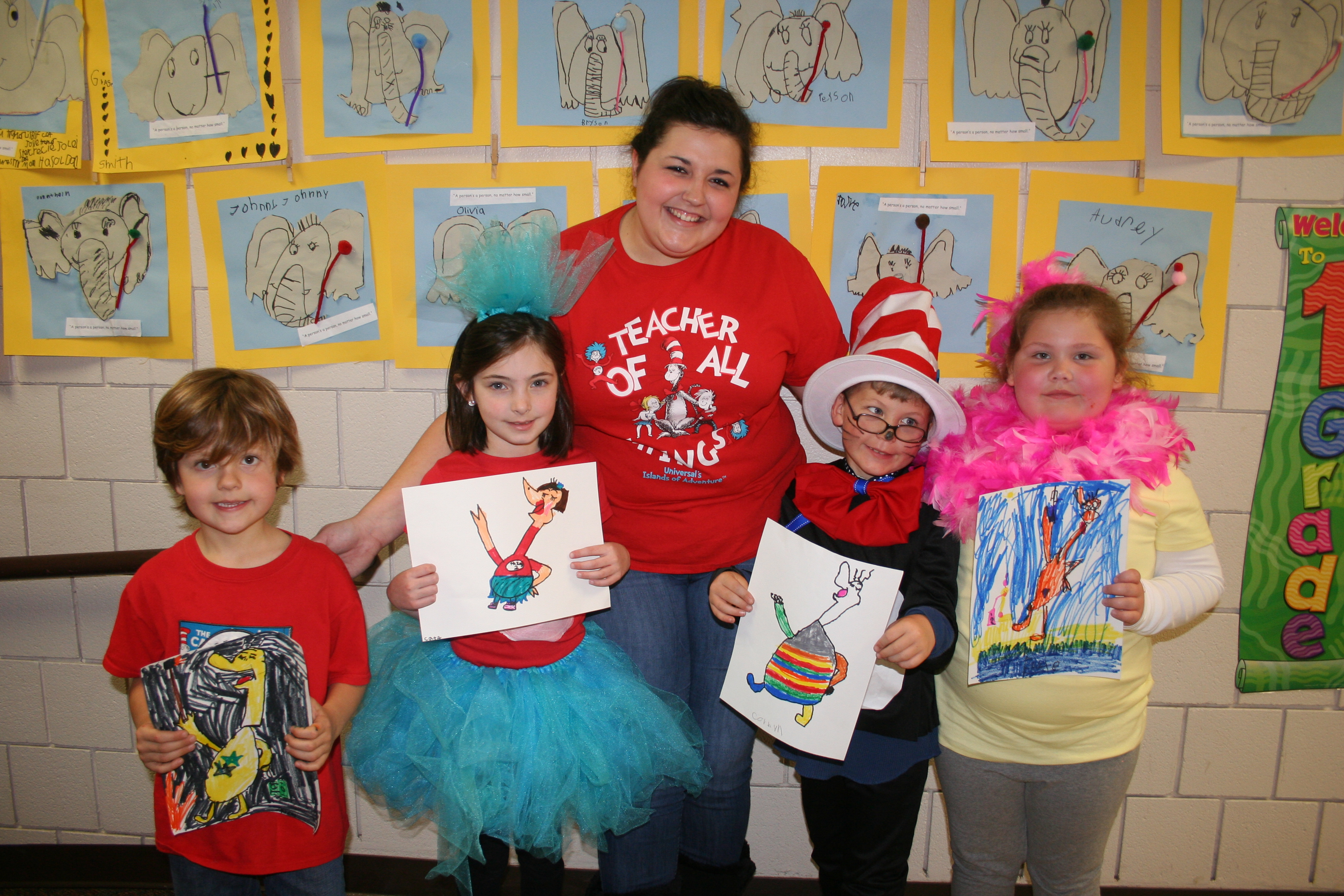 students in Dr. Seuss costumes