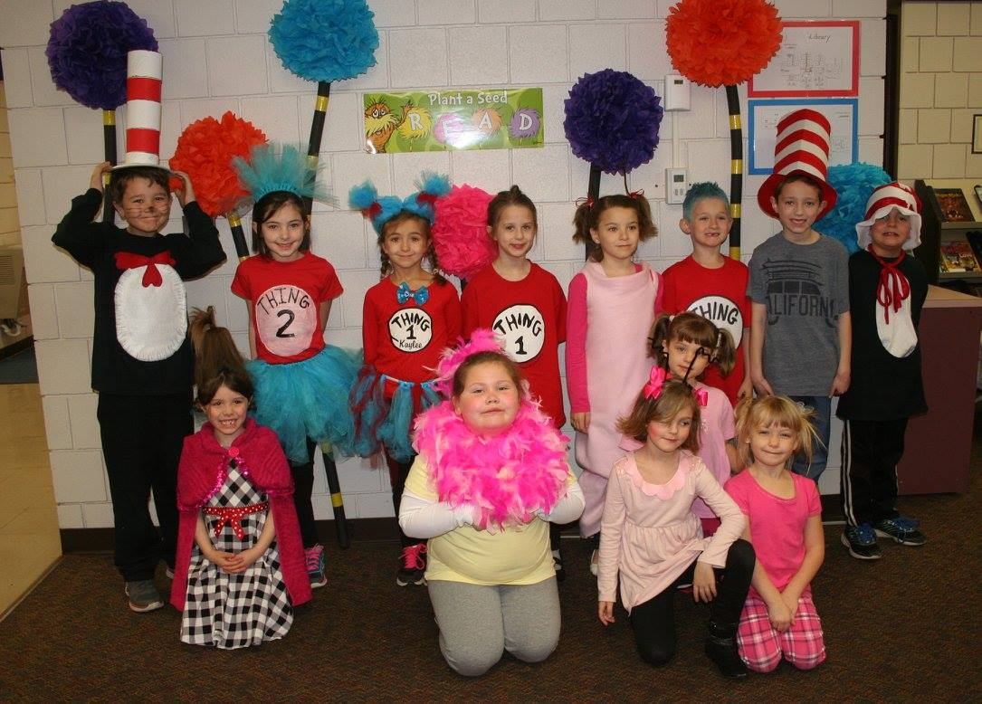 students dressed in Dr. Seuss character costumes