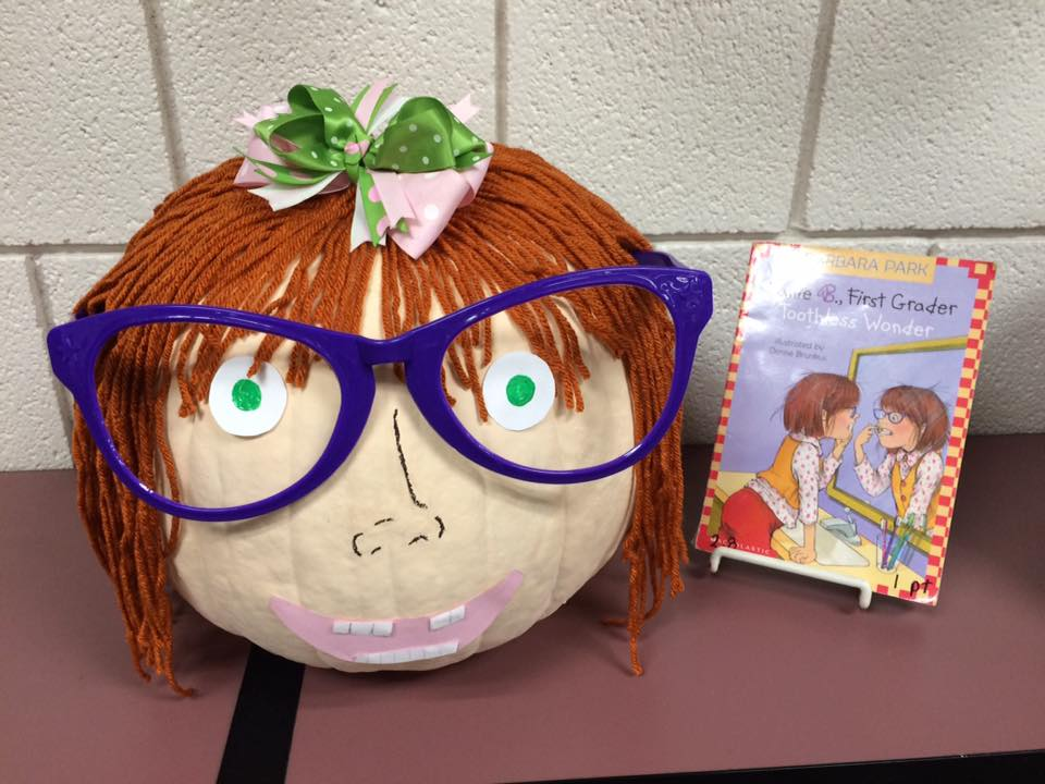 pumpkin decorated like Junie B. Jones
