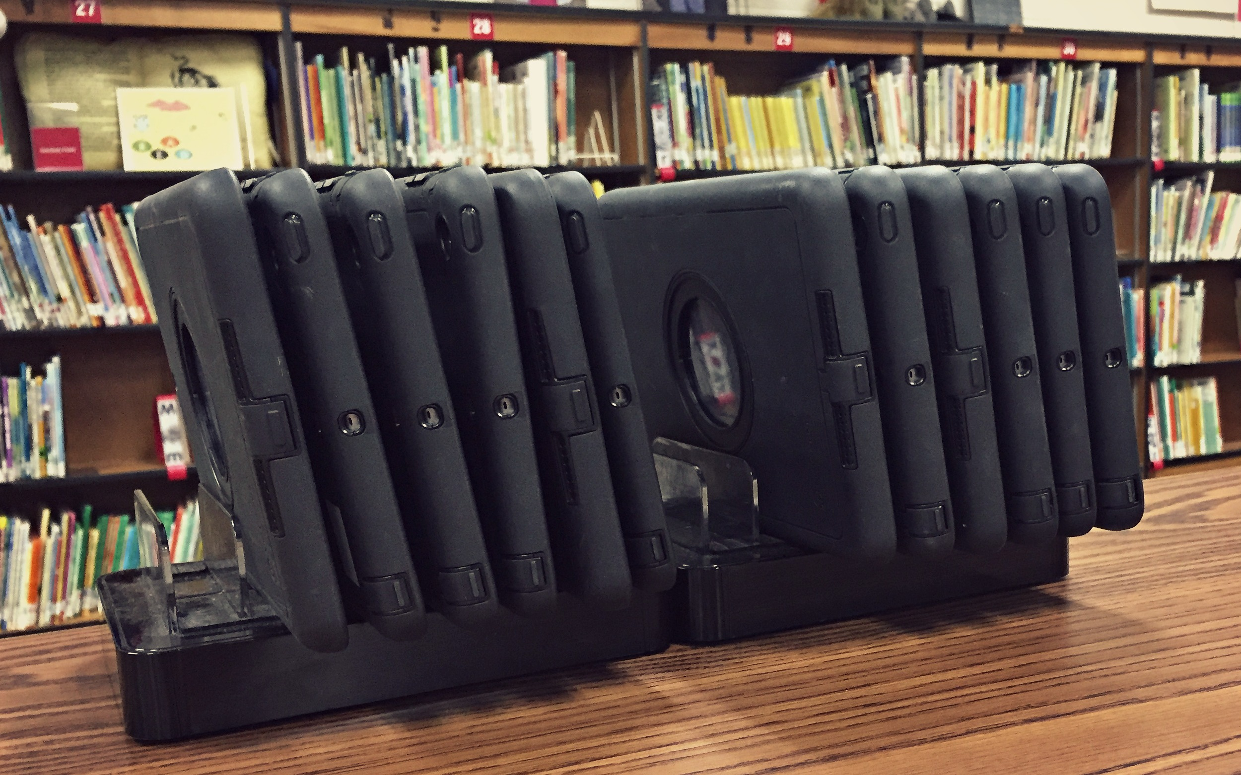 Picture of the library iPads.