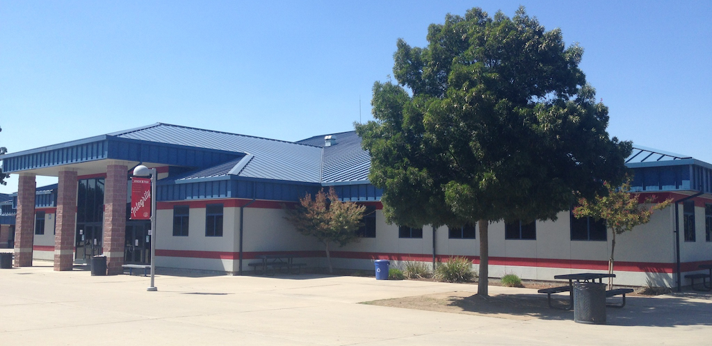 Exterior photograph of Sanger High School Library.