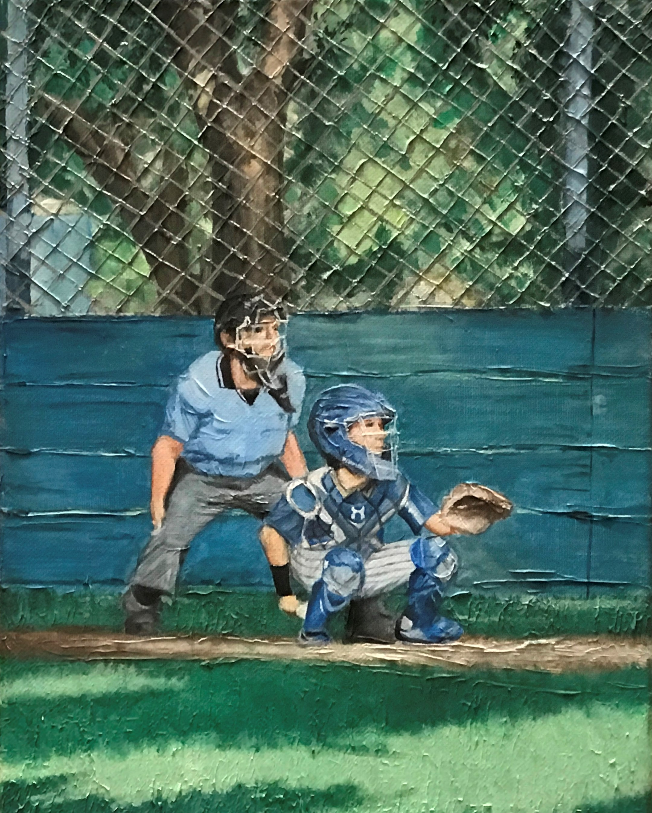 Student painting of umpire and catcher on ball field