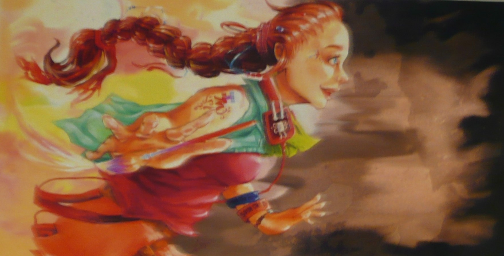 Student painting of being floating in air