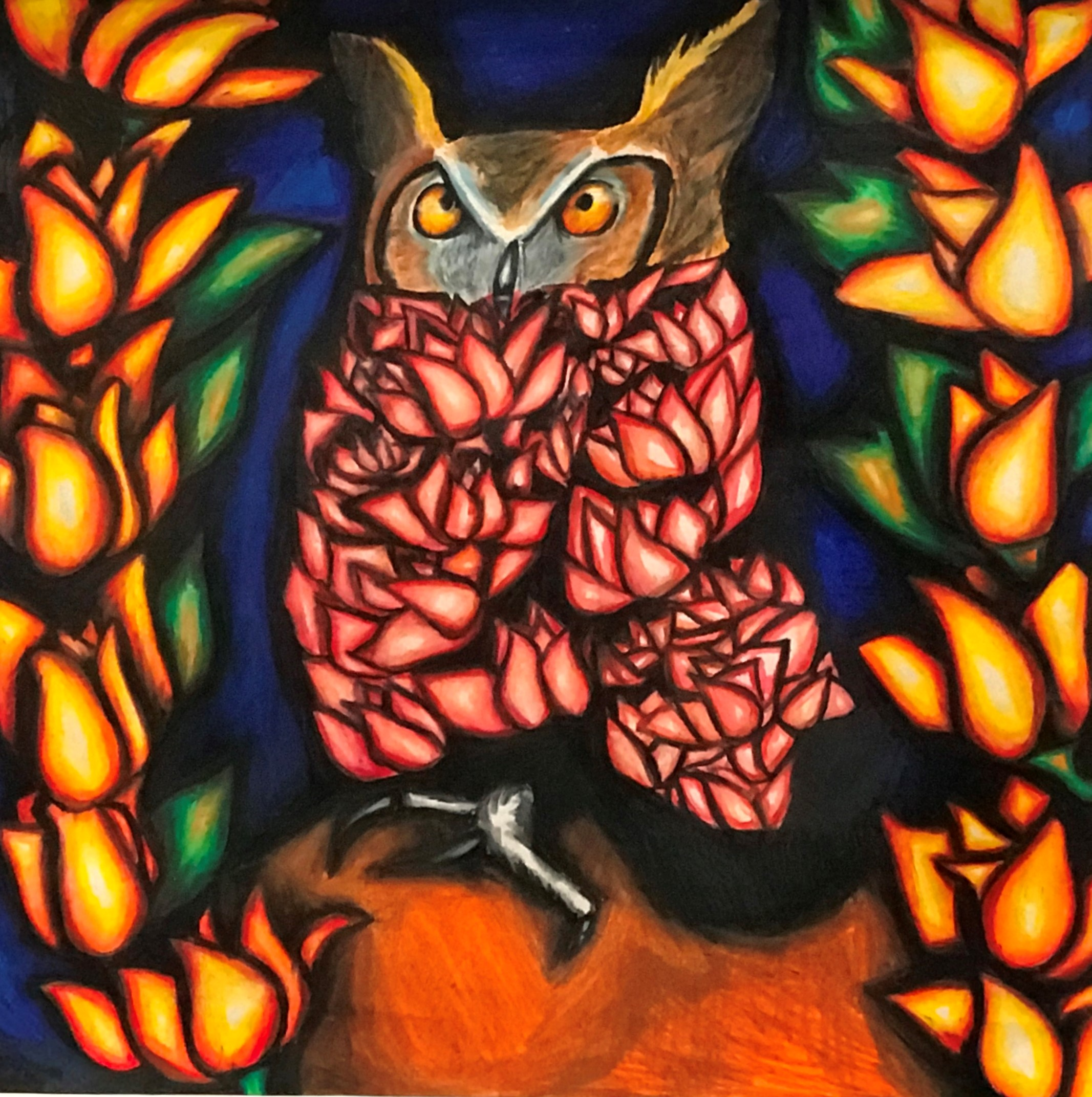 Student painting of owl