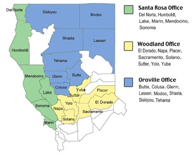 Map showing county boundaries of 3 northern california Migrant Ed areas