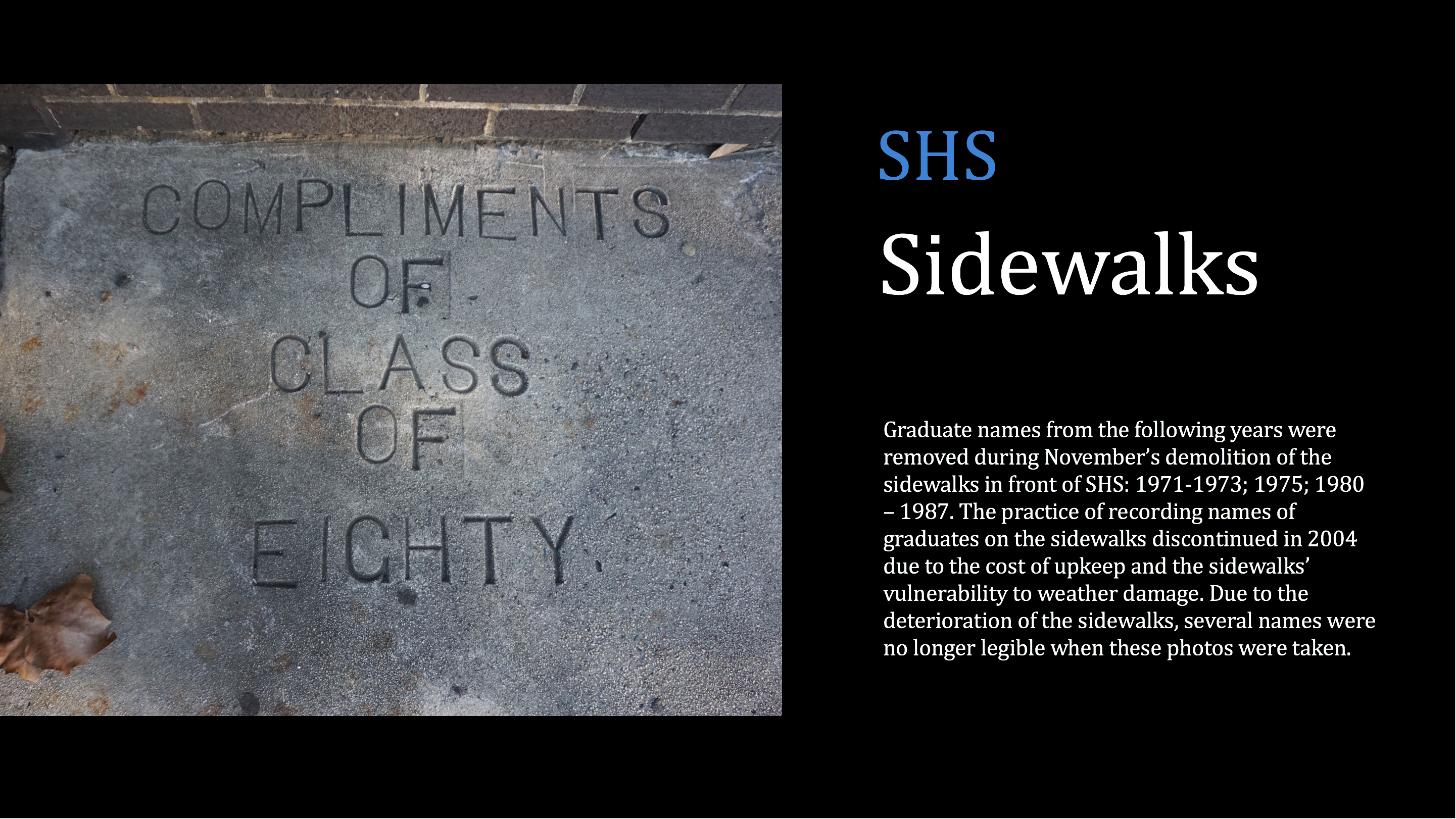 SHS Sidewalks Removed During Construction
