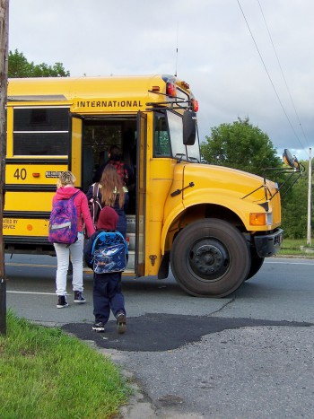 Students loading bus