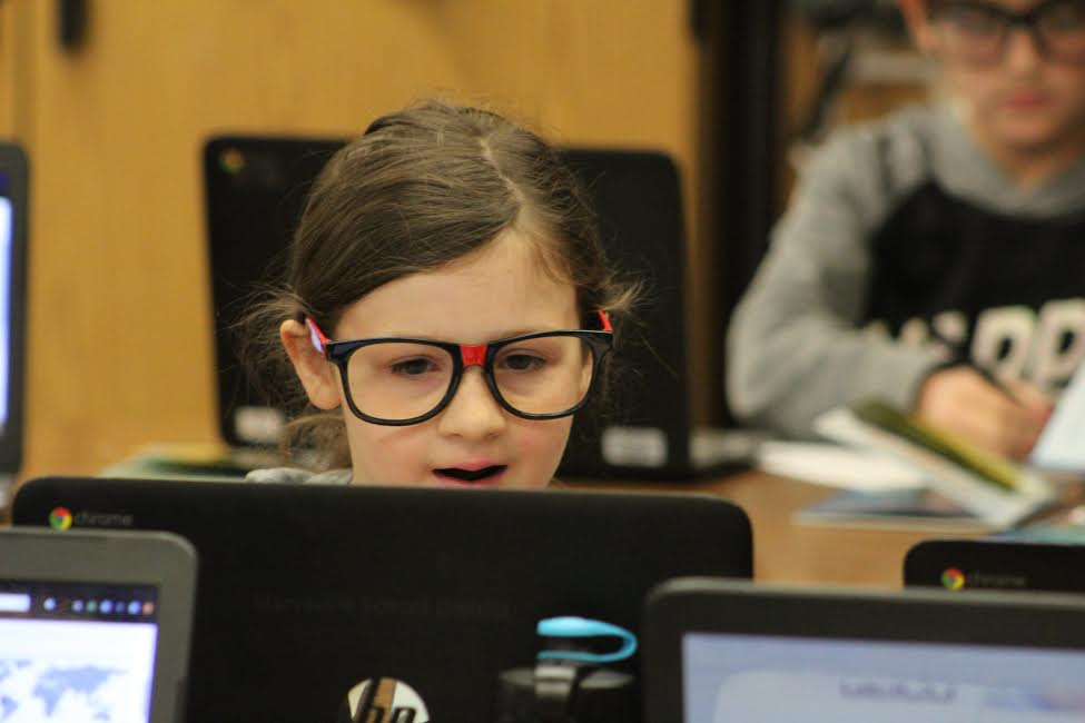 Girl Student Using Chromebook