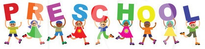 Drawing of colorful Letters spelling PRESCHOOL, and kids carrying them.