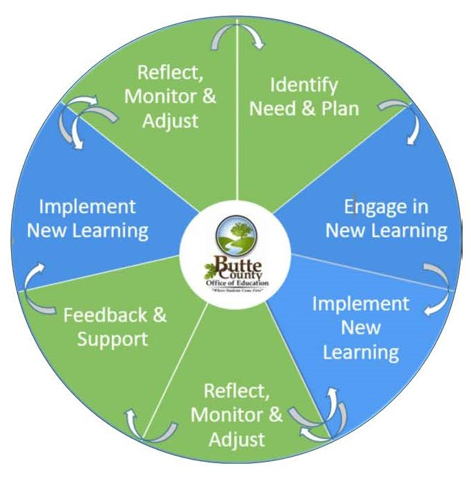 Pie chart with seven areas including reflect monitor and adjust, identify need and plan, engage in new learning, implement new learning, reflect monitor and adjust, feedback and support, implement new learning