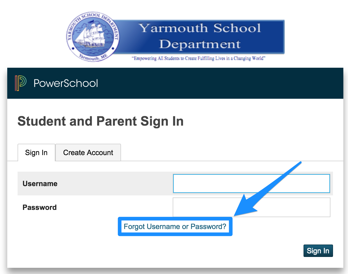 PowerSchool Login Screen Forgot Username or Password