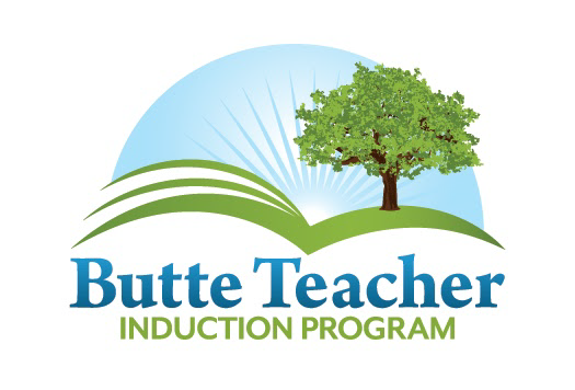 Butte Teacher Induction Logo Tree on green hills which are also pages of open book and sunrise
