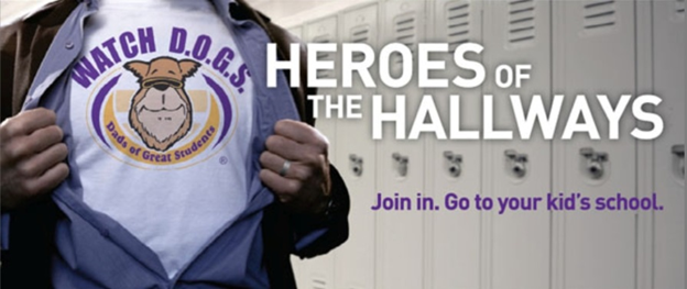 Watch DOGS: Dads of great students: Heroes of the hallways. Join in. Go to your kid's school