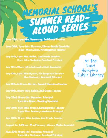 Memorial School Summer Read Aloud Poster