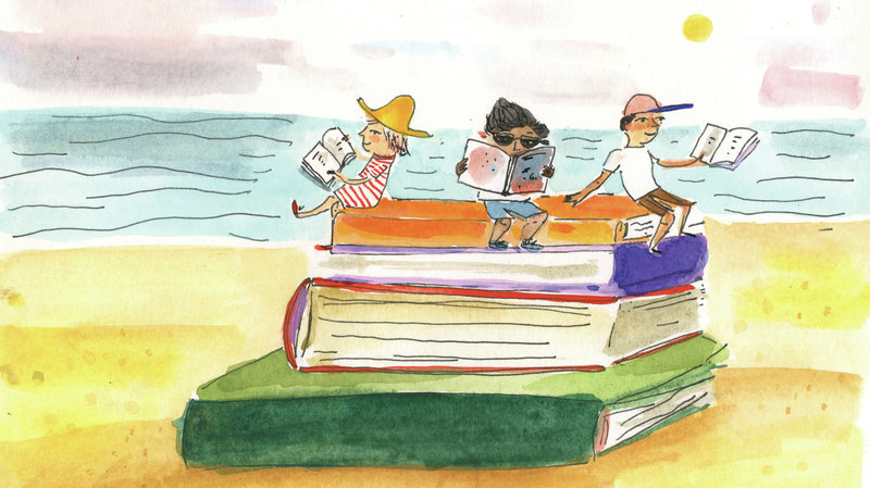 Image:  Drawing of books on beach