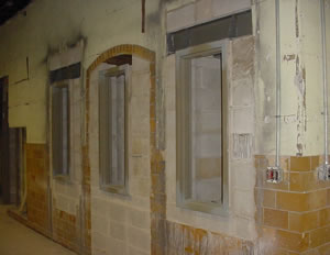 Remnants of the old arched doorways were revealed during the 2001 renovation