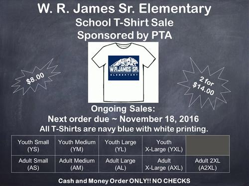 School Shirt Order Table