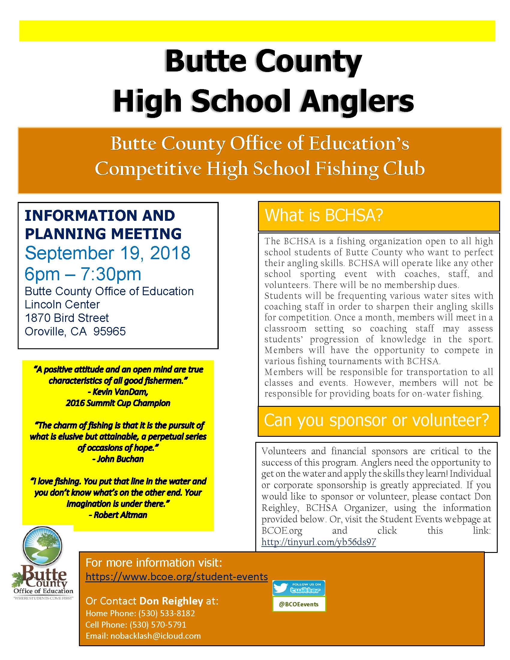 Butte County High School Anglers Flier