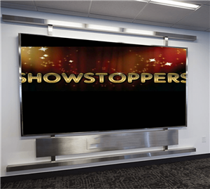 'Showstoppers' text on TV screen