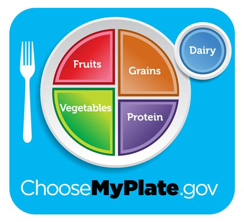 Choosemyplate.com: PLate with fruits, grains, protein, vegetables, and dairy written on it.