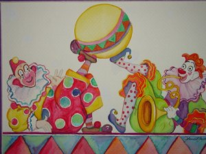 Clowns with a ball art