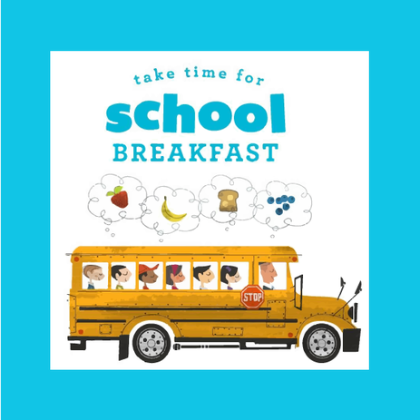 "School bus with text above that says ""take time for school breakfast"""