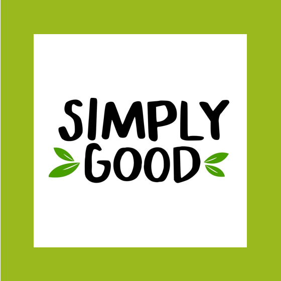 "Green and white box with text title, ""Simply Good"""