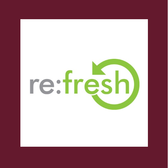 refresh logo inside white box with maroon border