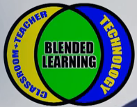 Blended Learning: Classroom-Teacher Technology venn diagram logo