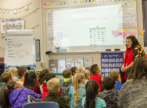 Anahisse Hodge teaches kindergarten students enrolled in the Woodland Primary School's Dual Language Program