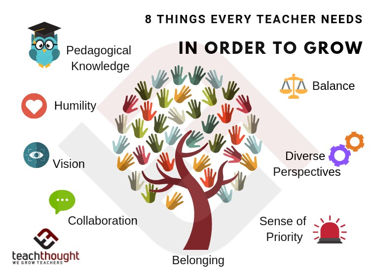 Graphic of 8 Things Teachers need to grow