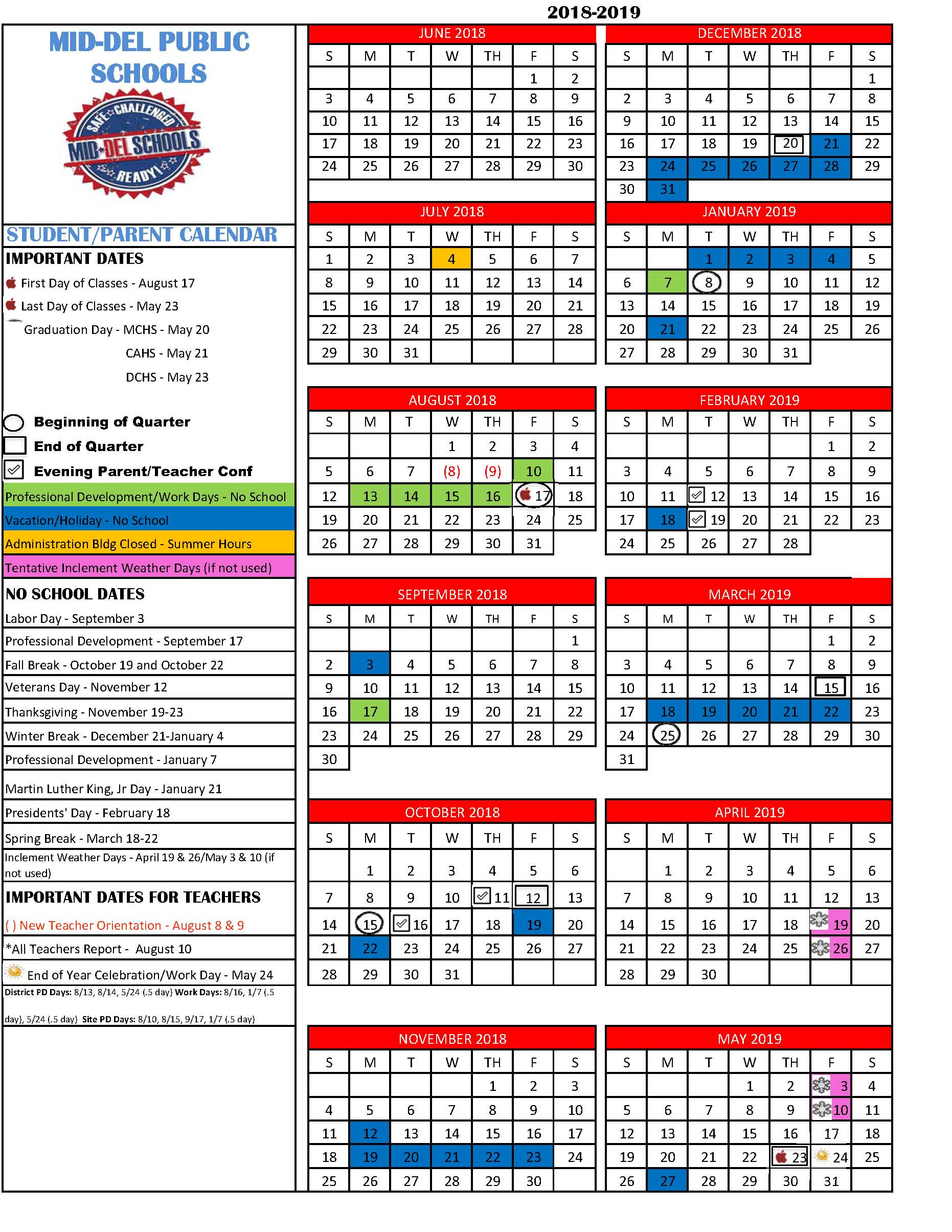 2018 2019 district calendar
