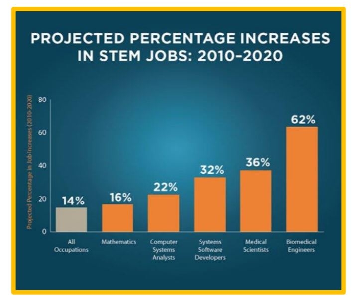 Image: Graph Projected % increase in Stem Jobs 2010-20