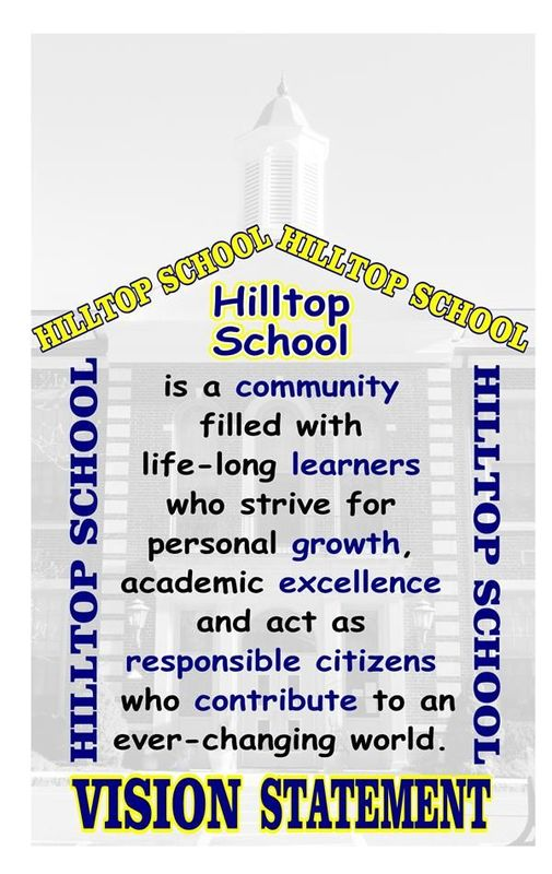A photo will Hilltop School's vision statement
