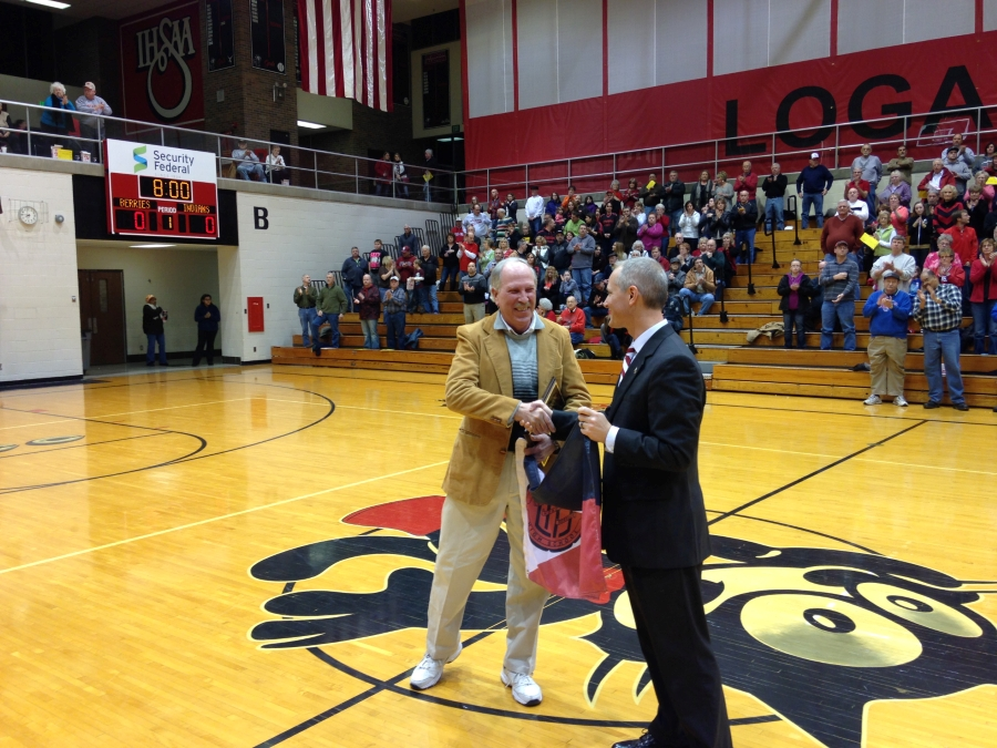 Russ Bridenbaugh being honored at a basketball game