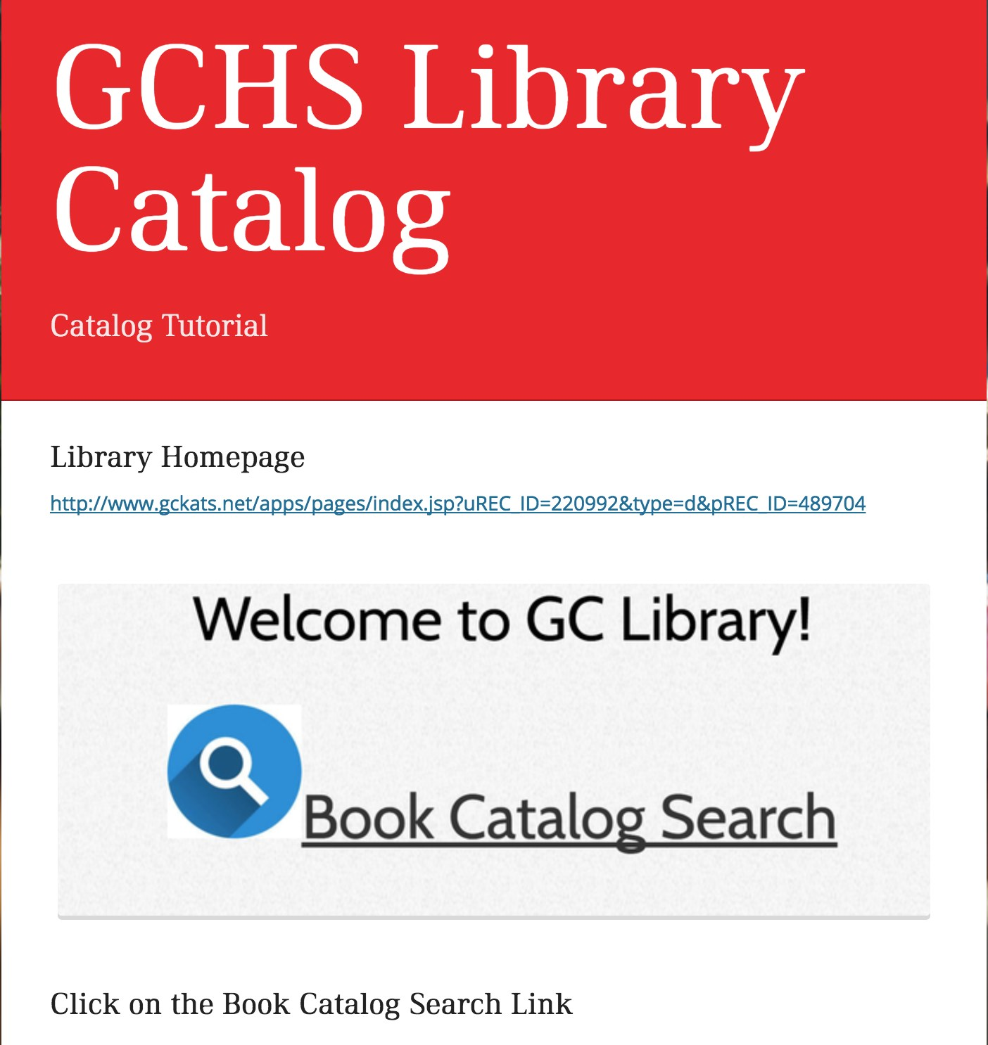 Click on Book Catalog Search