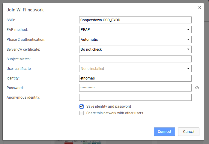 Complete the network setup with the following settings (identity will be your network username)