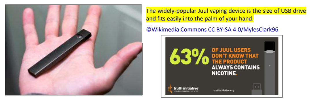 Image: Examples of Juul vaping devices  and statistic 63% of Juul users don't know that the product always contains nicotine