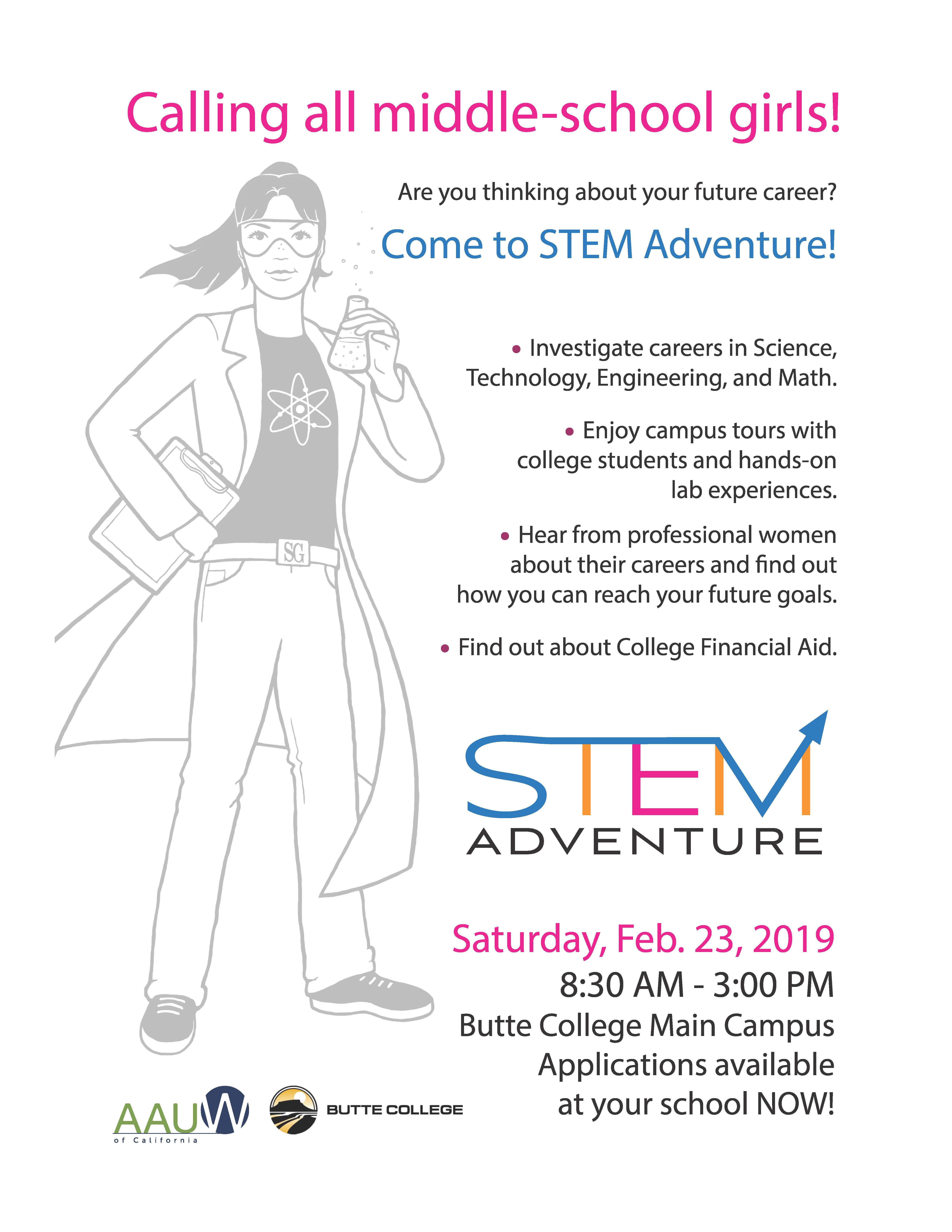 STEM Girls Adventure Day Flyer
