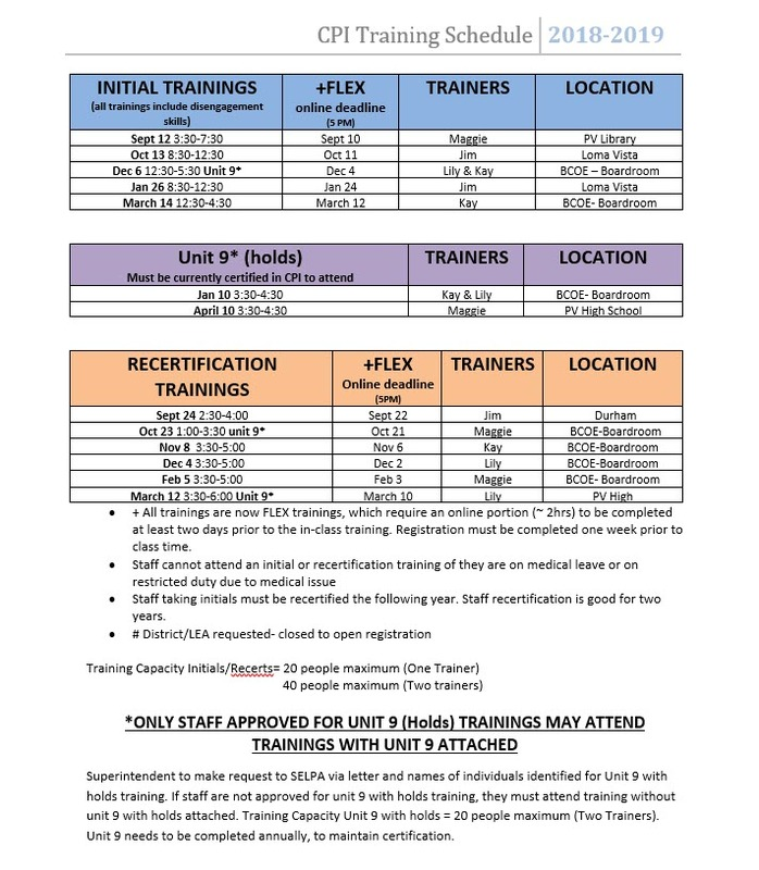 CPI Training schedule