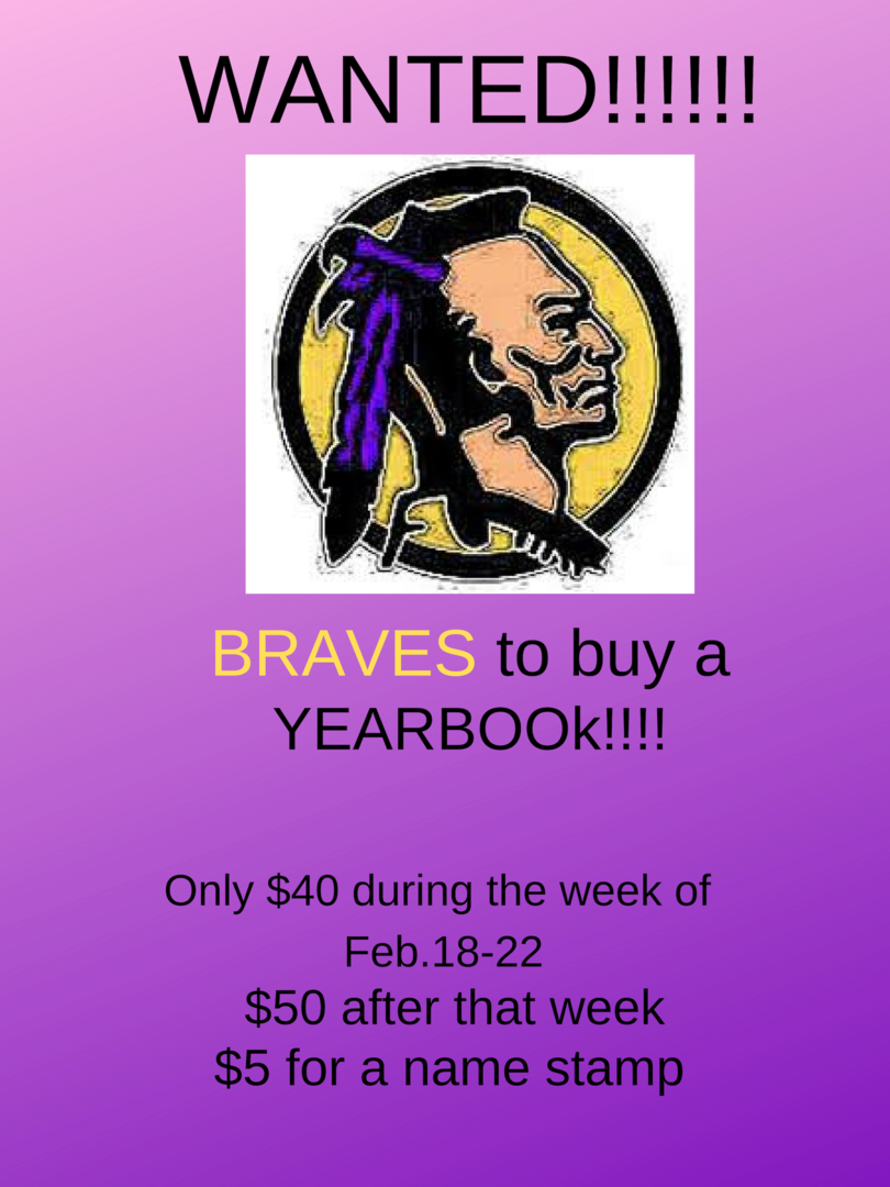Yearbooks $40 during week of Feb 18-22, $50 after that week, $5 for a name stamp